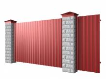 Забор из блоков и профнастила
