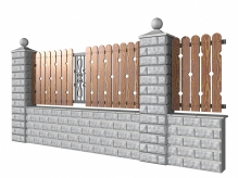 Забор из блоков с высоким цоколем и доской РОМБЫ