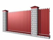 Забор из блоков и фигурного профнастила
