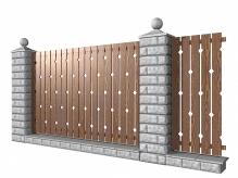 Забор из блоков и штакетника Ромбы
