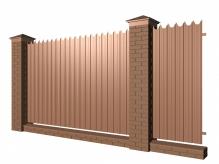 Забор с кирпичными столбами и фигурным профнастилом