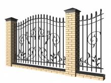 Забор с кирпичными столбами и коваными секциями