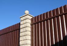Забор из блоков Престиж и профнастила в Пушкино